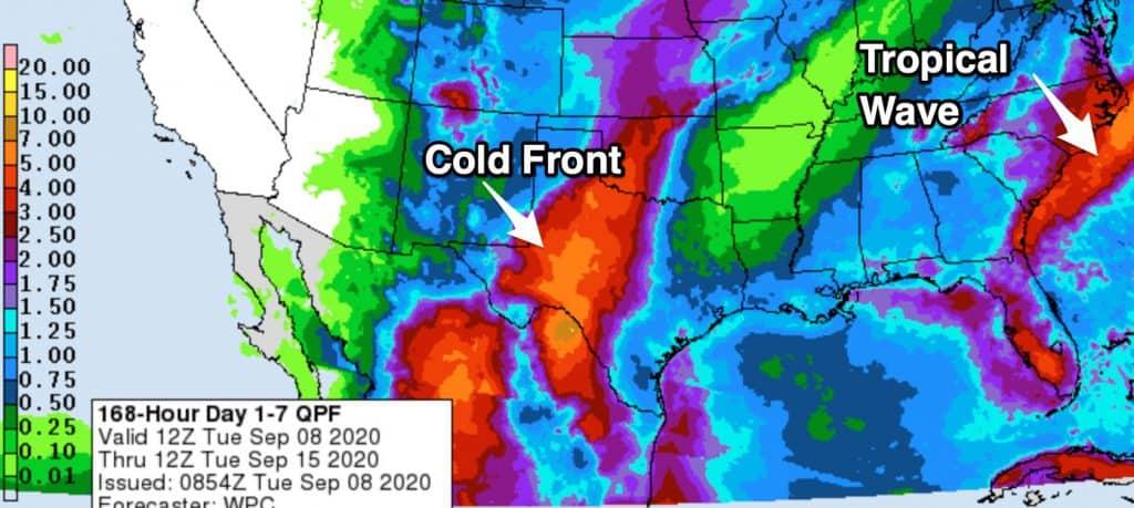 7 days forecast precipitations 200908