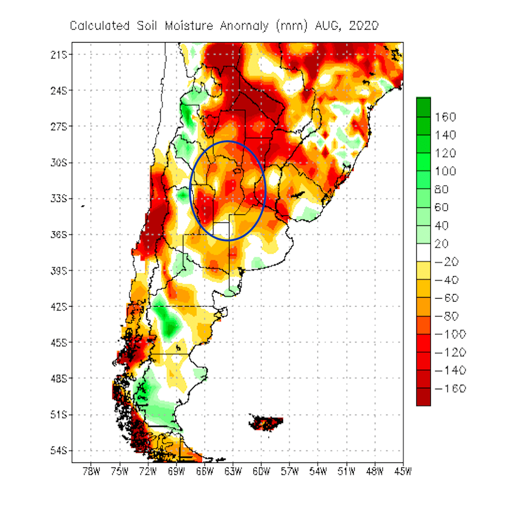 Soil moisture anomaly Argentina Aug. 2020