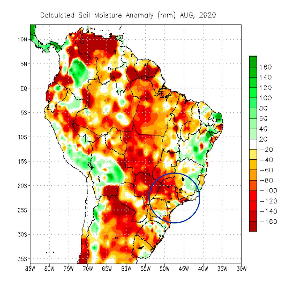 Soil moisture anomaly Brazil Aug. 2020