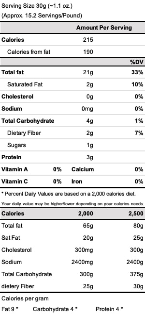 Table Nutrients pecans - phone