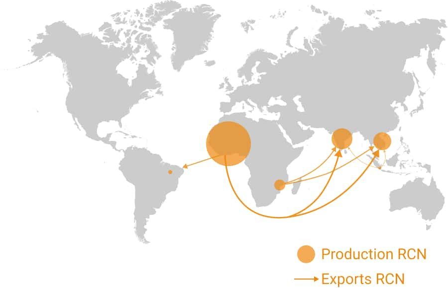 Map RCN production & exports