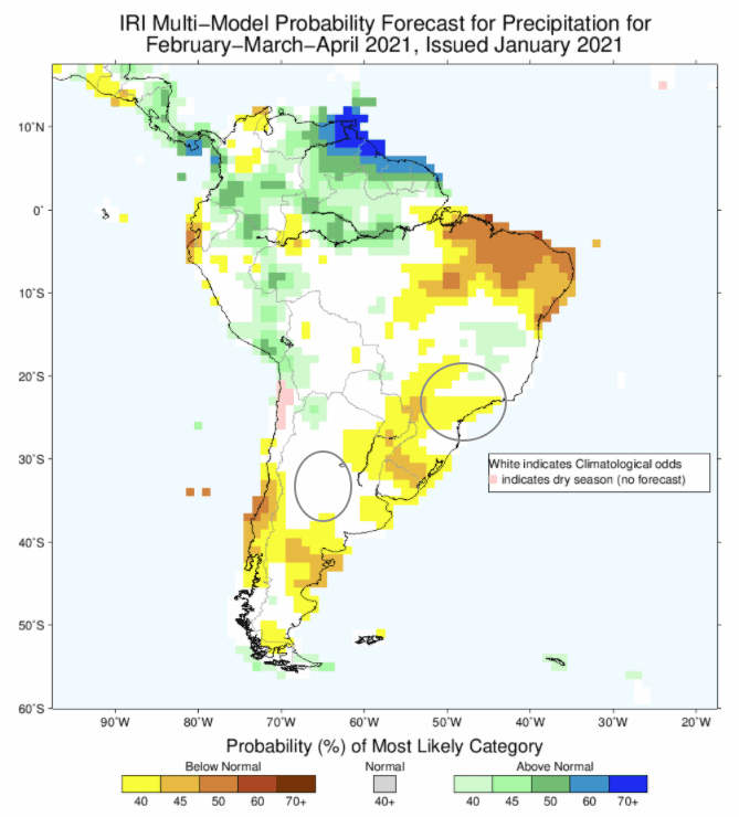 Brazil Argentina climate forecast FMA 2021