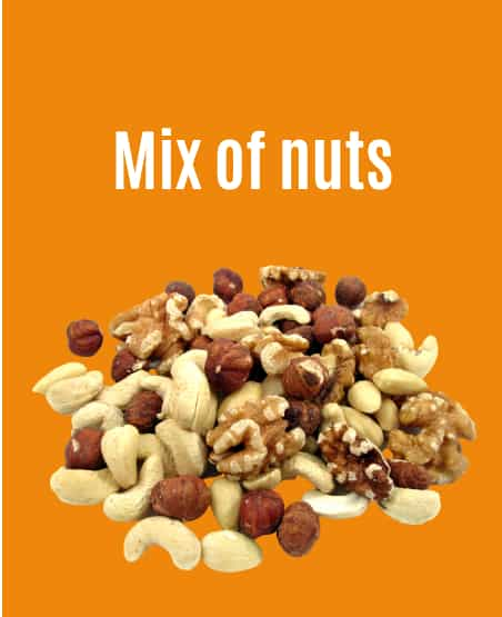 Mix of nuts including cashews