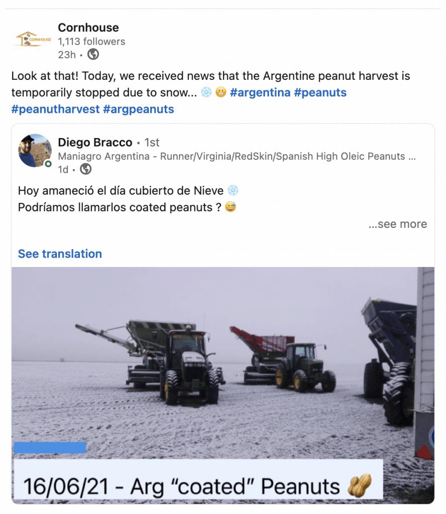 Linkedin post snow in Argentina